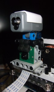 A LEGO structure fro holding the Raspberry Pi Camera Board and a Mindsotrms NXT or EV3 sensor.
